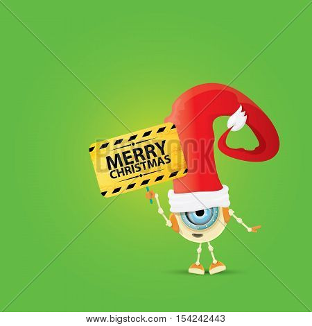 Cartoon Cute Robot with merry christmas santa claus red hat. funky merry christmas card design template or background