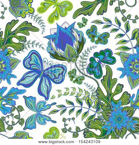 Seamless hand draw butterfly with floral pattern on white background. Vector illustration.