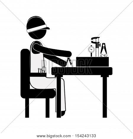 engineer sitting with measuring elements vector illustration