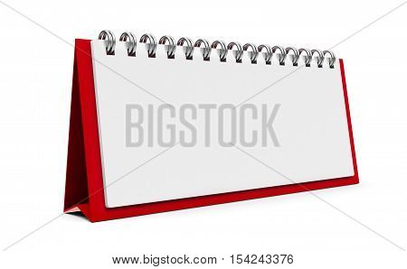 Blank paper calendar icon with spiral three-dimensional rendering 3D illustration