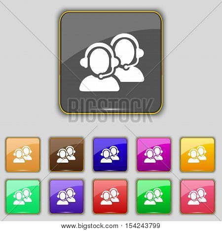 Call Center Icon Sign. Set With Eleven Colored Buttons For Your Site. Vector