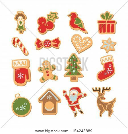 Christmas cookies set. Isolated ginger cookies with decoration on white background. Sweet and delicious holiday gift. Santa, Christmas tree, deer, toys and more.