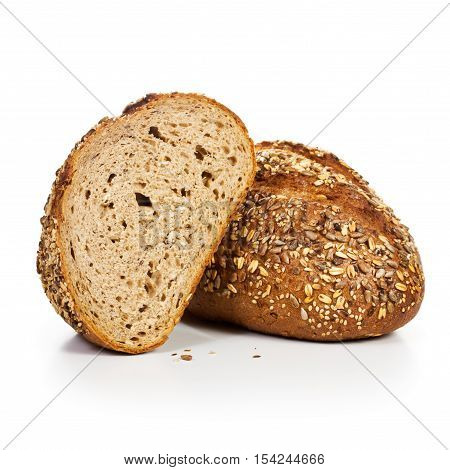 Fresh whole grain bread cut in half on white background