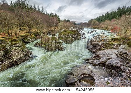 Wild mountain river in the foothills, Scotland