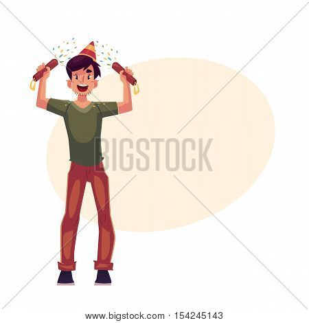 Happy young man in birthday hat with party poppers in his hands, cartoon vector illustrationwith space for text. Young man having fun at birthday party celebration