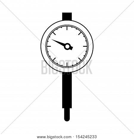 black silhouette micrometer with gauge needle vector illustration