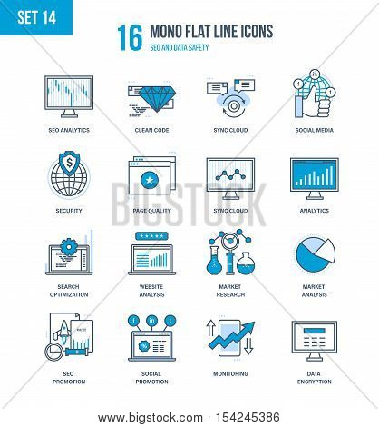 Mono Flat Line icons set of seo and data safety, technology, promotion, analytics, market research, monitoring, security. Vector illustration. Editable Stroke