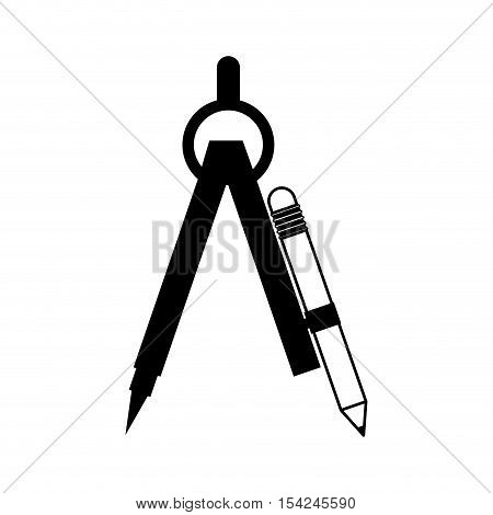 black silhouette drawing compass with pencil set vector illustration
