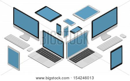 Isometric vector set of computer and keyboard, laptop, tablet pc and smartphone.