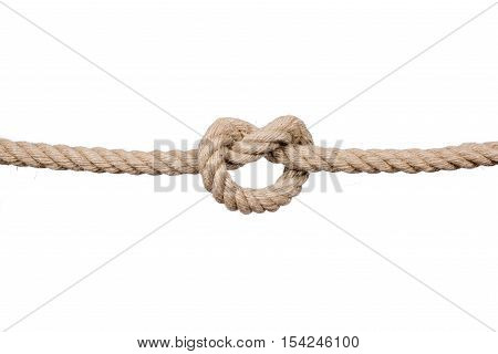 Rope knot isolated on a white background, as a symbol for trust and faith or stress. Hemp Rope Knot.