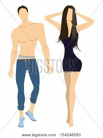 Isolated professional models on white background. Male and Female models half naked with athletic sexy bodies.
