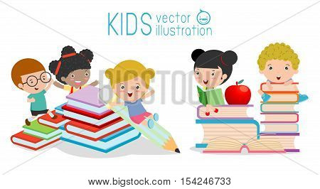 cute kids and books,cute children reading books, Happy Children while Reading Books, back to school, kids school, education concept Vector Illustration on white background.