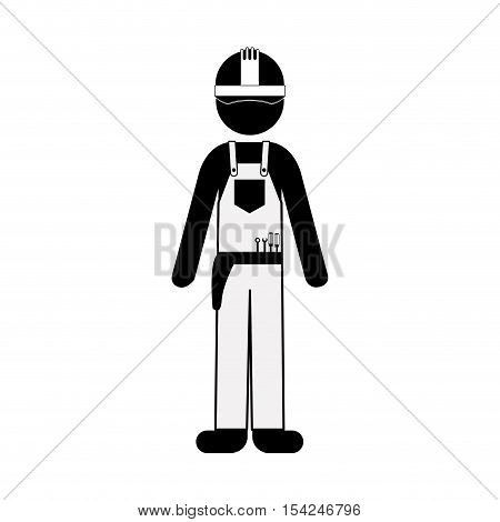 black silhouette man worker with toolkit vector illustration