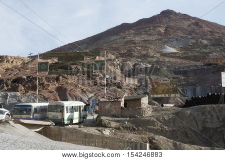 Buses with Workers Going Through the Entrance of Cerro Rico Silver Mine in Potosi, October 8, 2012 - Bolivia