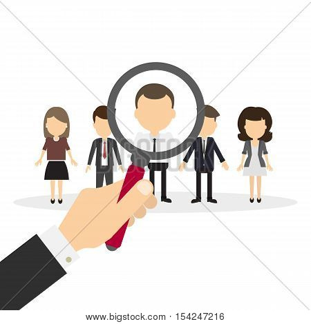 Hiring staff concept. Hand with magnifying glass finding and recruiting new worker.