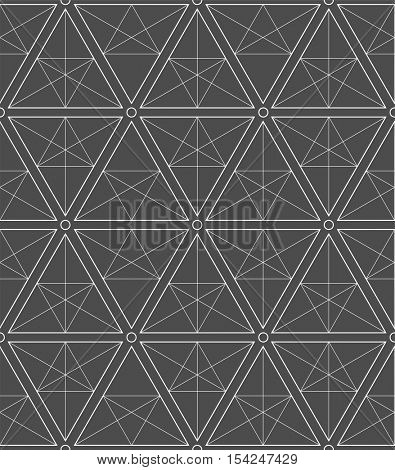 seamless pattern with minimalistic geometric ornament on black background