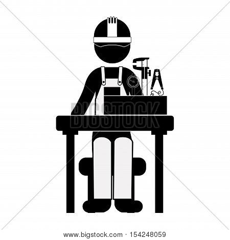 black silhouette engineer sitting with measuring elements vector illustration