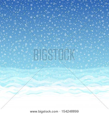 Seamless winter pattern with blue sky, snowdrifts and snowflakes. Horizontally recurring pattern