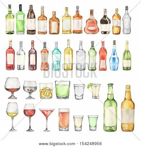 Watercolor alcohol set. Many bottles and glasses on white background. Wine, liquor, champagne and beer.