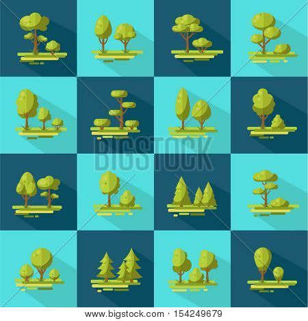 Forest elements long shadow flat icons set with trees and shrubs on blue background isolated vector illustration