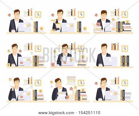 Male Office Worker In His Cubicle Working Set Of Illustrations. Primitive Flat Drawings In Infographic Style With Different Office Employee Activities.