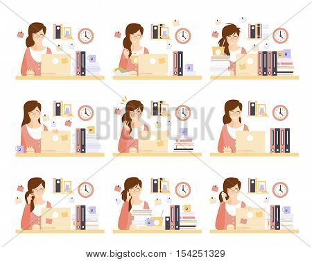 Female Office Worker In Her Cubicle Working Set Of Illustrations. Primitive Flat Drawings In Infographic Style With Different Office Employee Activities.
