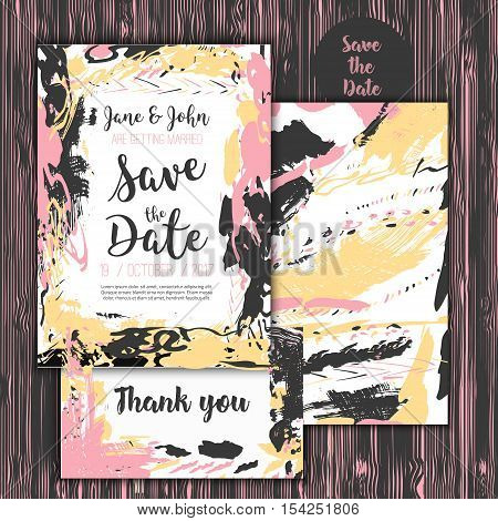 Save the date freehand card with hand drawn background. Modern Stock vector. Invitation design