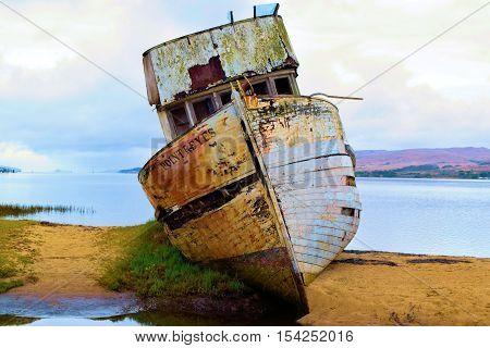 Shipwreck taken on a sand bar at a bay taken in Pt Reyes, CA