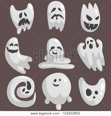 White Ghosts In Childish Cartoon Manner Set On Dark Background. Cartoon Classic Shapeless Spooks Vector Illustrations.