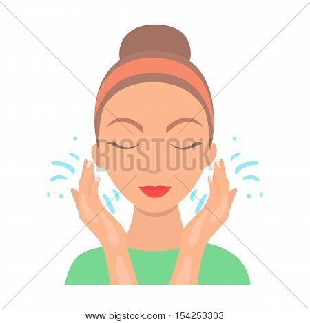 Face washing icon in cartoon style isolated on white background. Skin care symbol vector illustration.