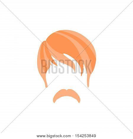 Hipster Male Hair and Facial Hair Style With Hippie Moustache.Hair, Beard And Moustache Style Design Template