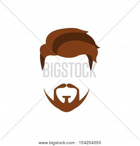Hipster Male Hair and Facial Hair Style With Extended Goatee.Hair, Beard And Moustache Style Design Template