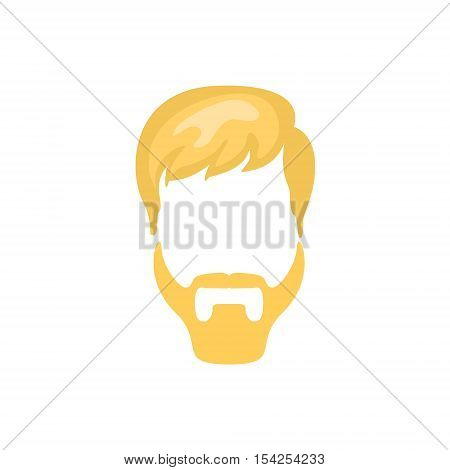Hipster Male Hair and Facial Hair Style With Ducktail Beard.Hair, Beard And Moustache Style Design Template