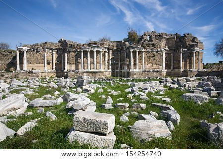 Old ruins of agora in Side Library Antalya Turkey