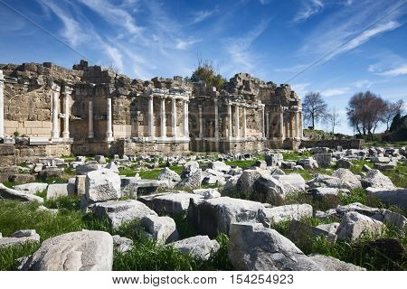The ruins of agora in Side Library Antalya Turkey