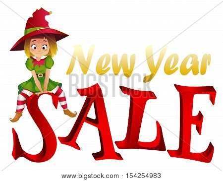 Christmas sale design template. Santa Claus elf helper sitting on the letter S. New Year Sale