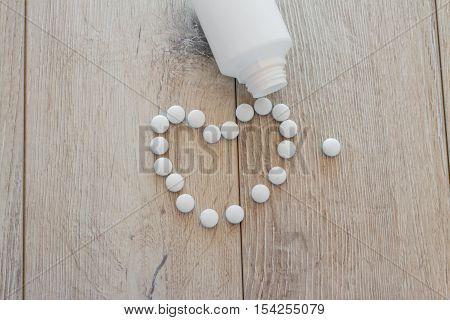 Drug prescription for treatment medication; colorful pills