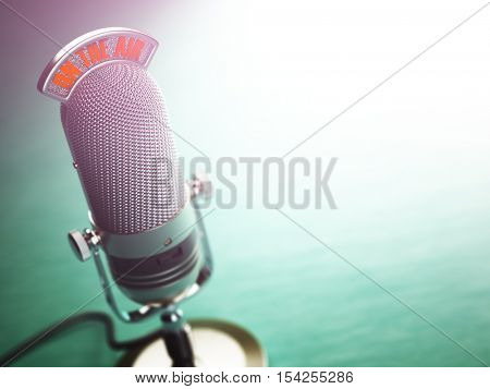 Retro old microphone with text on the air. Radio show or audio podcast concept. Vintage microphone. 3d illustration