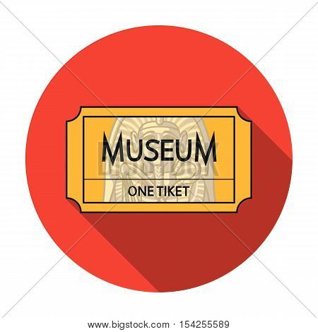Ticket to the museum icon in flat style isolated on white background. Museum symbol vector illustration.