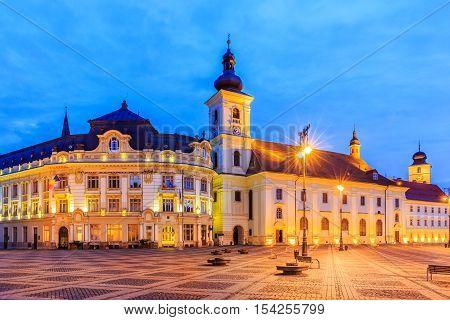 Sibiu Romania. Large Square and City Hall. Transylvania medieval city.