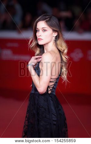 Rome Italy - October 16 2016: Alice Bellagamba walks on the red carpet for 'The Rolling Stone Ole' Ole 'Ole' !: A trip Across Latin America 'During The 11th Rome Film Festival at Auditorium Parco Della Musica.
