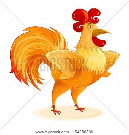 Rooster for New Year 2017 with arms akimbo; Character a fun colorful Cockerel; Vector cartoon drawing Eps8