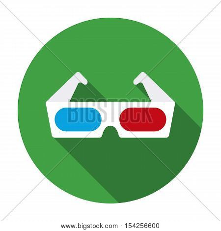 Anaglyph 3D glasses icon in flat style isolated on white background. Films and cinema symbol vector illustration.
