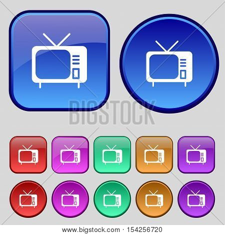 Tv Icon Sign. A Set Of Twelve Vintage Buttons For Your Design. Vector