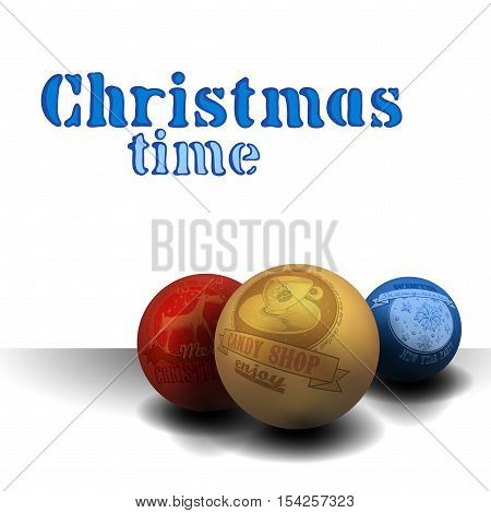 white Christmas background with balls and inscription