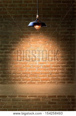 Lamp at brick wall background - Stock Photo