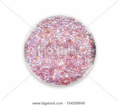 close-up to purple silica gel on the plate
