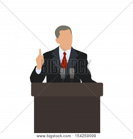 Man on the podium politician points finger up. The gesture of attention. Male speaker. Vector