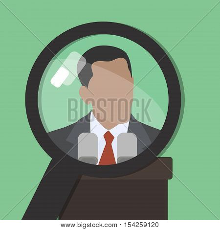 Search. Man under a magnifying glass. Find information about famous world persona. Vector. Green background