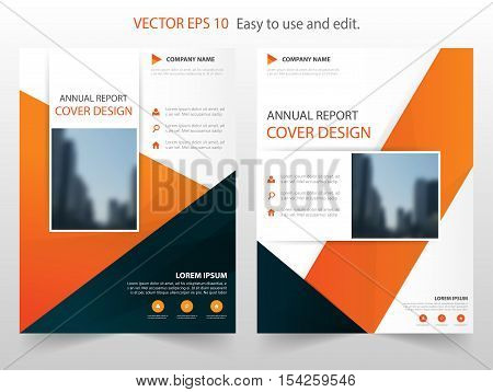 Orange black triangle annual report Brochure design template vector. Business Flyers infographic magazine poster.Abstract layout template Book Cover presentation portfolio.